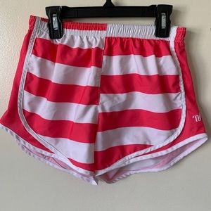 varisty pink and white striped athletic shorts
